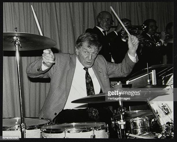 Ronnie Verrell on drums with the Sound of 17 Big Band at The Fairway Welwyn Garden City Hertfordshire 22 December 1991 Artist Denis Williams