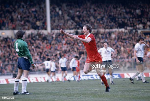 Ronnie Whelan celebrates after scoring Liverpool's equalising goal against Tottenham Hotspur in the 88th minute of the League Cup Final at Wembley...