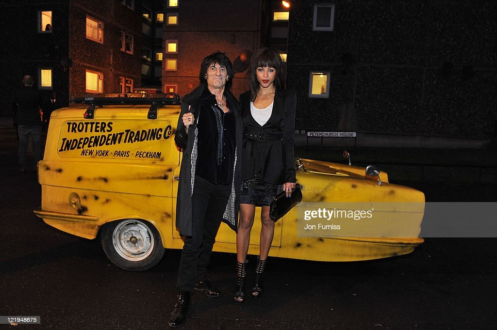 Ronnie Wood and Ana Araujo (R) attend the Gold Nelson Mandela House launch, celebrating Only Fools at 30 on Gold on August 23, 2011 in London, England.