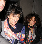 Ronnie Wood and girlfriend Ana Araujo leave Nobu in Berkeley Square on March 18 2010 in London England