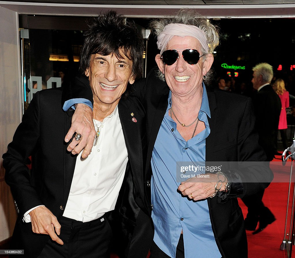 Ronnie Wood (L) and Keith Richards attend the Gala Premiere of 'Crossfire Hurricane' during the 56th BFI London Film Festival at Odeon Leicester Square on October 18, 2012 in London, England.