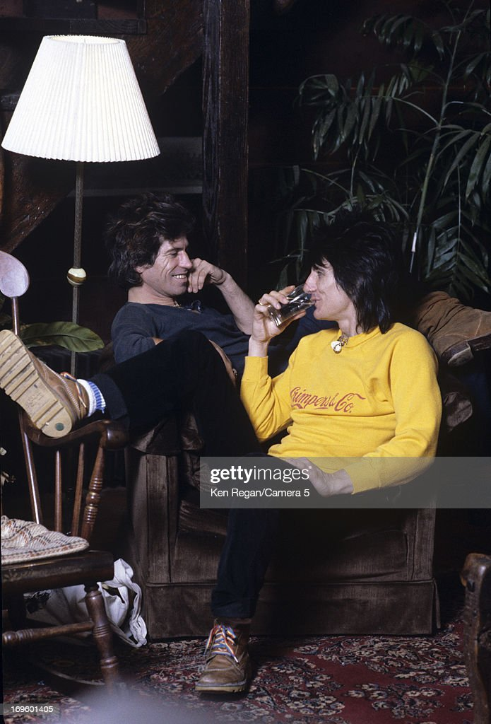 Ronnie Wood and Keith Richards of the Rolling Stones are photographed at Longview Farm in September 1981 in Worcester, Massachusetts.