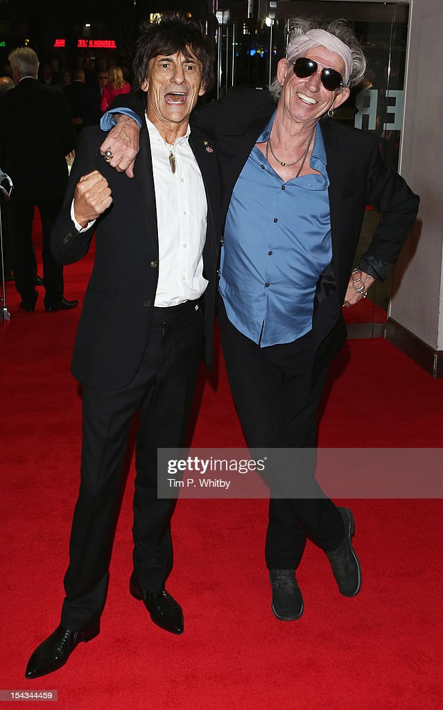 Ronnie Wood (L) and <a gi-track='captionPersonalityLinkClicked' href=/galleries/search?phrase=Keith+Richards+-+Musician&family=editorial&specificpeople=202882 ng-click='$event.stopPropagation()'>Keith Richards</a> of the Rolling Stones attend the Premiere of 'Crossfire Hurricane' during the 56th BFI London Film Festival at Odeon Leicester Square on October 18, 2012 in London, England.