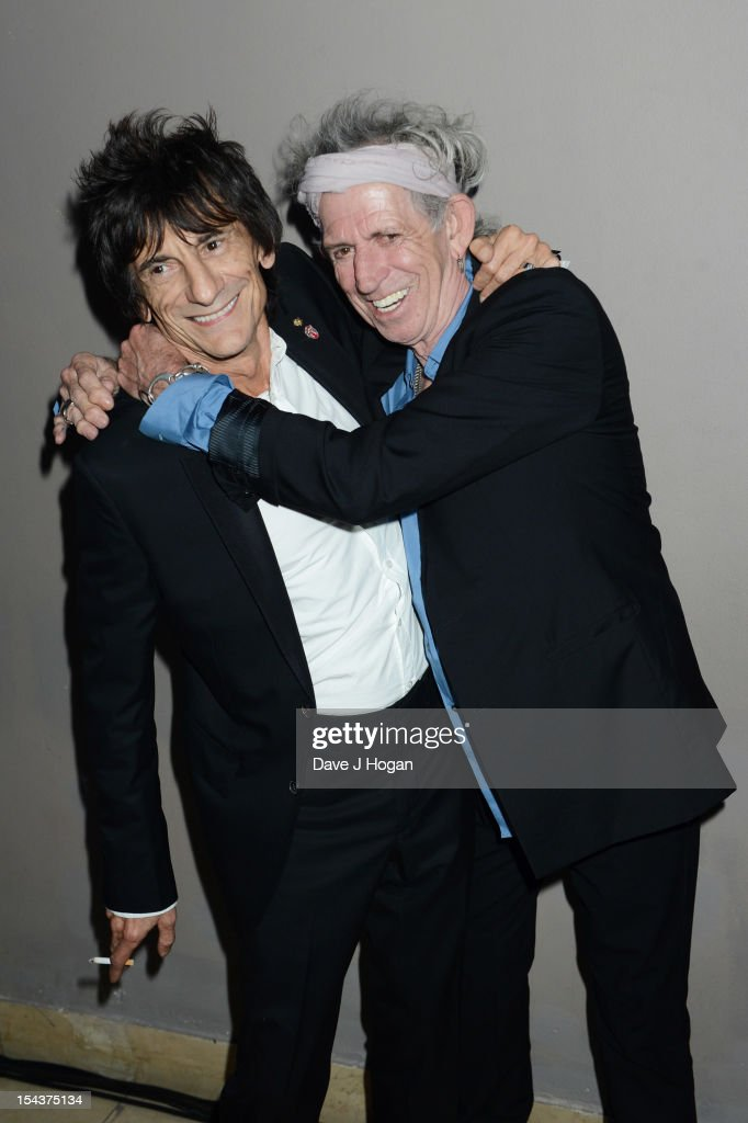 Ronnie Wood and Keith Richards of The Rolling Stones attends the premiere afterparty of 'Crossfire Hurricane' during the 56th BFI London Film Festival at Quaglinos on October 18, 2012 in London, England.