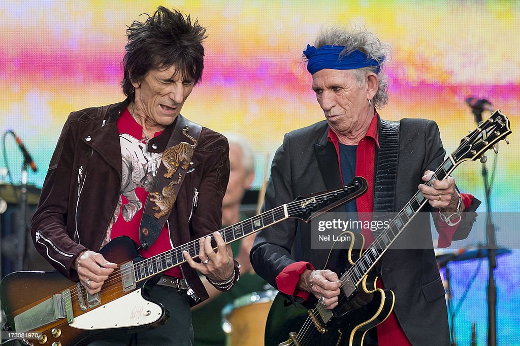 Ronnie Wood and Keith Richards of The Rolling Stones perform at day 2 of British Summer Time Hyde Park presented by Barclaycard at Hyde Park on July 6, 2013 in London, England.
