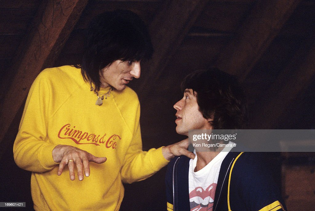 Ronnie Wood and Mick Jagger of the Rolling Stones are photographed while recording at Longview Farm in September 1981 in Worcester, Massachusetts.