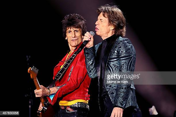 Ronnie Wood and Mick Jagger of The Rolling Stones perform live at Adelaide Oval on October 25 2014 in Adelaide Australia