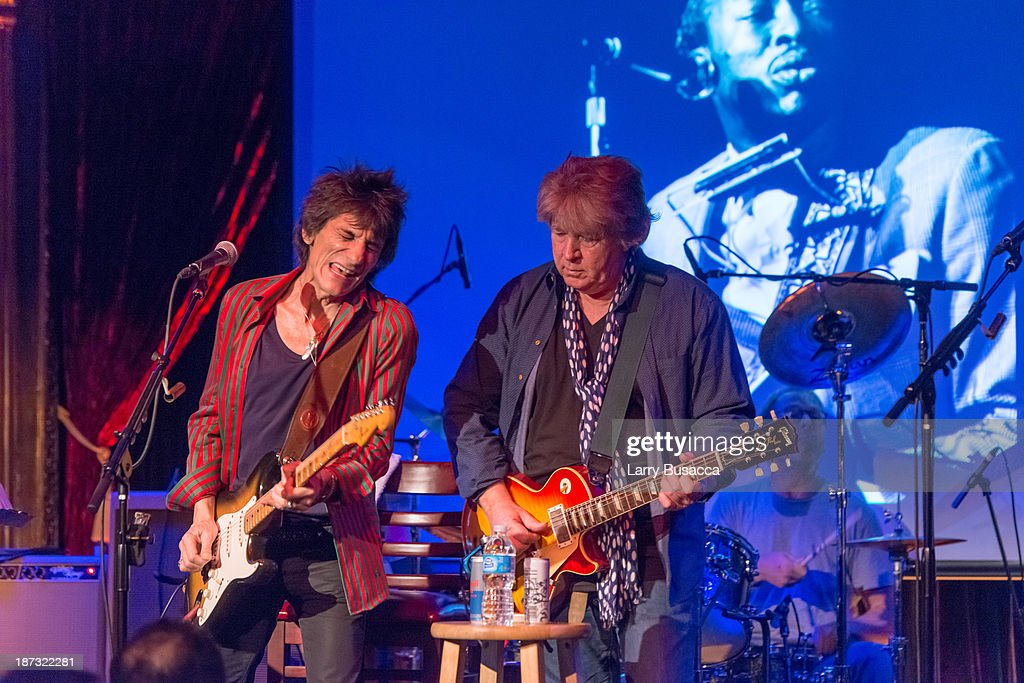 Ronnie Wood and <a gi-track='captionPersonalityLinkClicked' href=/galleries/search?phrase=Mick+Taylor&family=editorial&specificpeople=1371171 ng-click='$event.stopPropagation()'>Mick Taylor</a> perform at The Cutting Room on November 7, 2013 in New York City. Ronnie Wood of the Rolling Stones made a rare club appearance at New York's premiere music venue and nightclub, The Cutting Room. Ronnie was performing the music of Jimmy Reed. Musical icons <a gi-track='captionPersonalityLinkClicked' href=/galleries/search?phrase=Mick+Taylor&family=editorial&specificpeople=1371171 ng-click='$event.stopPropagation()'>Mick Taylor</a>, Al Cooper, Simon Kirk, Gary Clark Jr. and others joined him on stage.