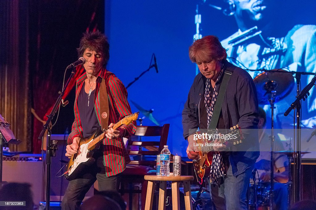 Ronnie Wood and Mick Taylor perform at The Cutting Room on November 7, 2013 in New York City. Ronnie Wood of the Rolling Stones made a rare club appearance at New York's premiere music venue and nightclub, The Cutting Room. Ronnie was performing the music of Jimmy Reed. Musical icons Mick Taylor, Al Cooper, Simon Kirk, Gary Clark Jr. and others joined him on stage.
