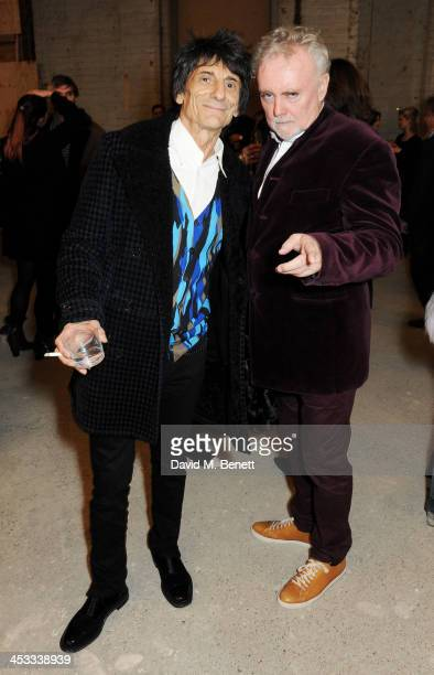 Ronnie Wood and Roger Taylor attend a private view of Nikolai Von Bismarck's new photography exhibition 'In Ethiopia' at 12 Francis Street Gallery on...