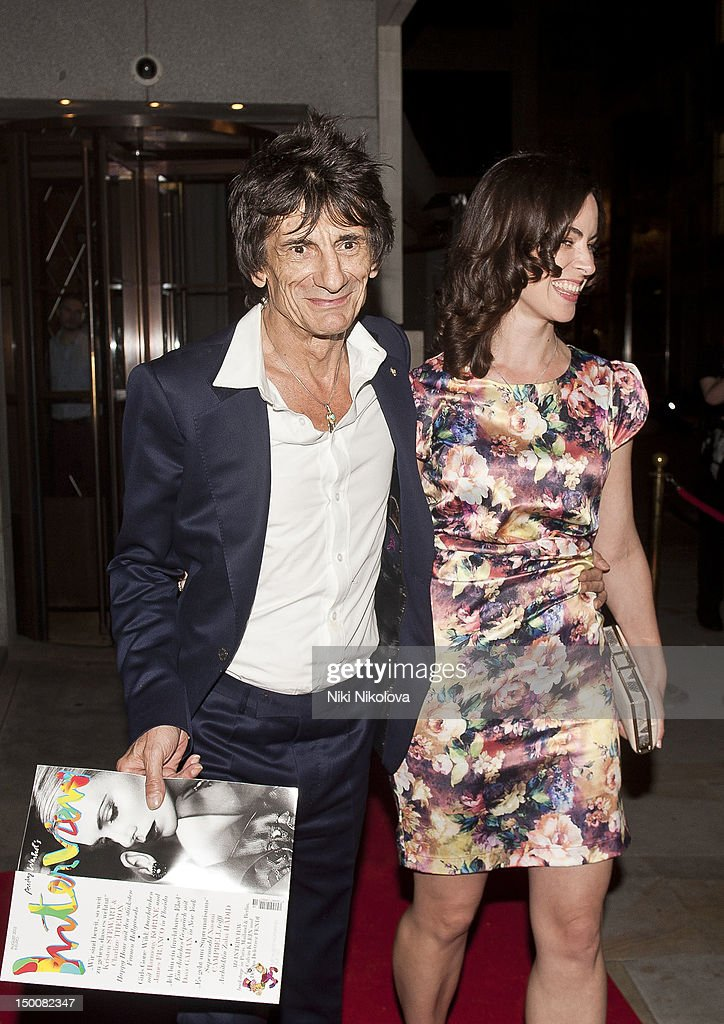 Ronnie Wood and Sally Humphreys at Naomi Campbell's Olympic Celebration Dinner on August 9, 2012 in London, England.