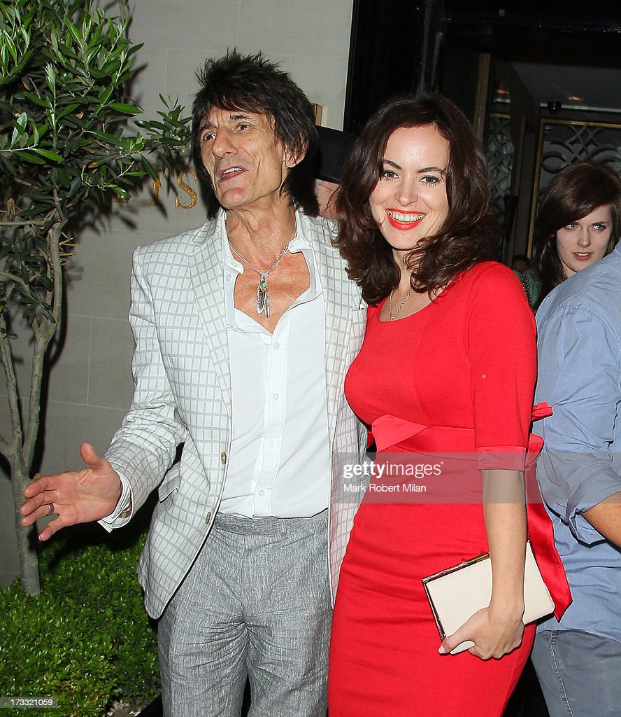 Ronnie Wood and Sally Humphreys at Scott's restaurant on July 11, 2013 in London, England.