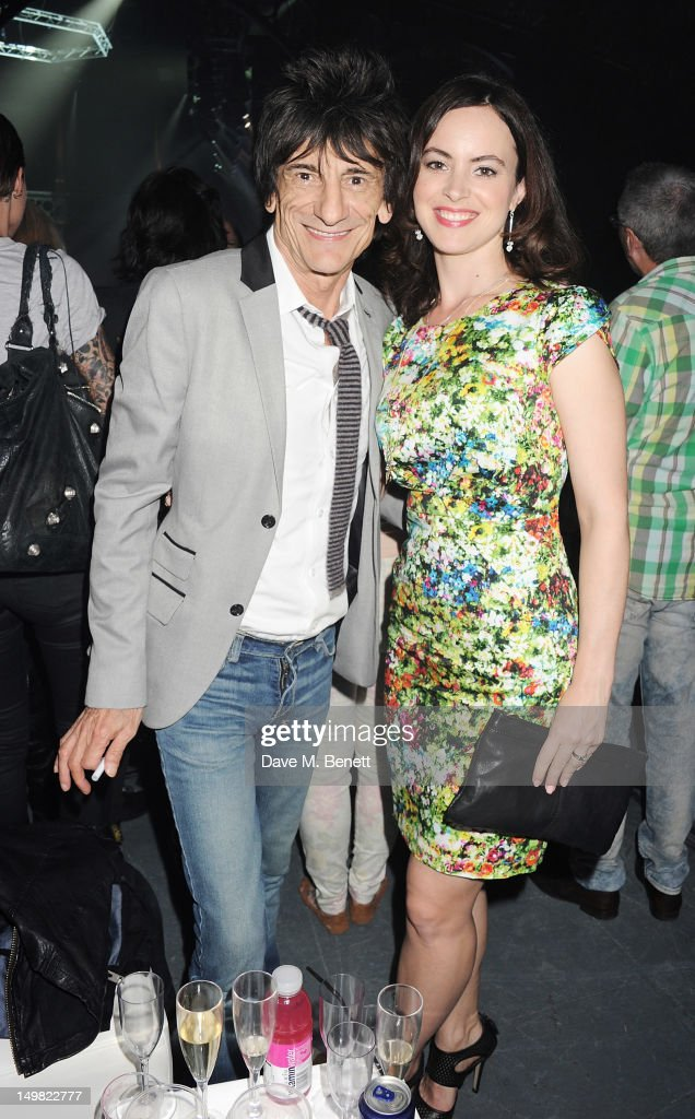 Ronnie Wood (L) and Sally Humphreys attend a VIP Reception as Glaceau vitaminwater presents 'Jessie J Live In London' at The Roundhouse on August 4, 2012 in London, England.