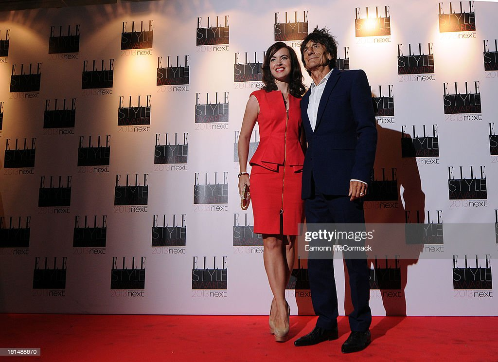 Ronnie Wood and Sally Humphreys attend the Elle Style Awards 2013 on February 11, 2013 in London, England.
