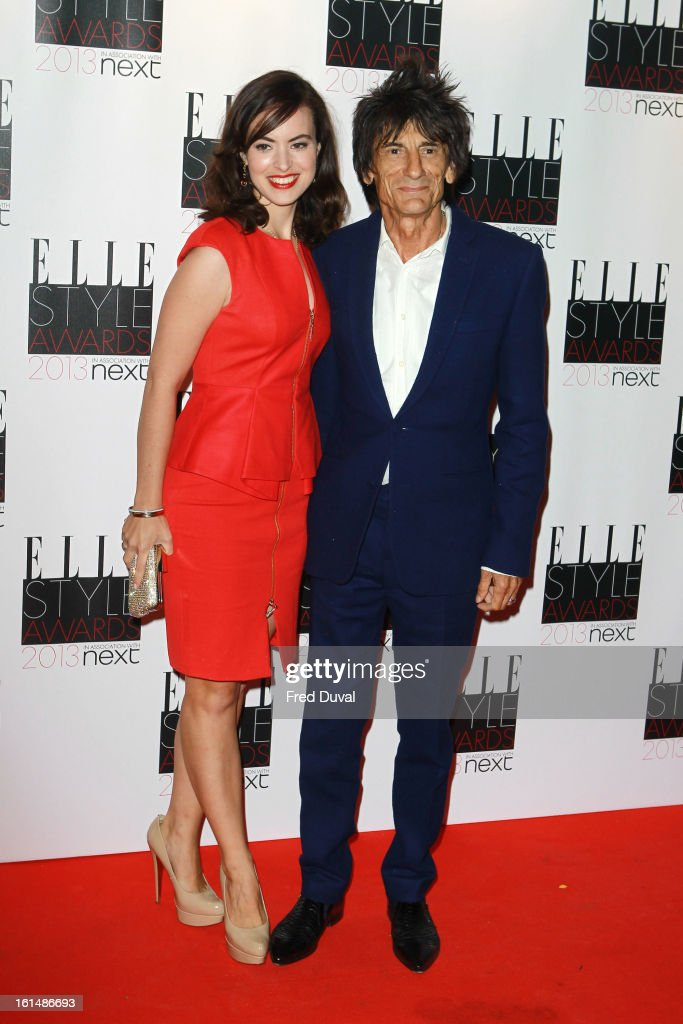 Ronnie Wood and Sally Humphreys attend the Elle Style Awards on February 11, 2013 in London, England.