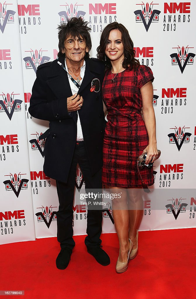 Ronnie Wood and Sally Humphreys attend the NME Awards 2013 at the Troxy on February 27, 2013 in London, England.