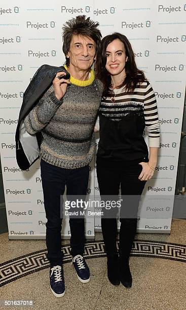 Ronnie Wood and Sally Humphreys attend the Project0 Wave Makers Marine Conservation concert at Scala on December 16 2015 in London England