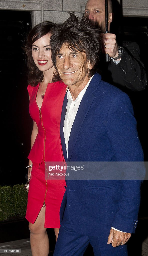 Ronnie Wood and Sally Humphreys sighting on February 11, 2013 in London, England.