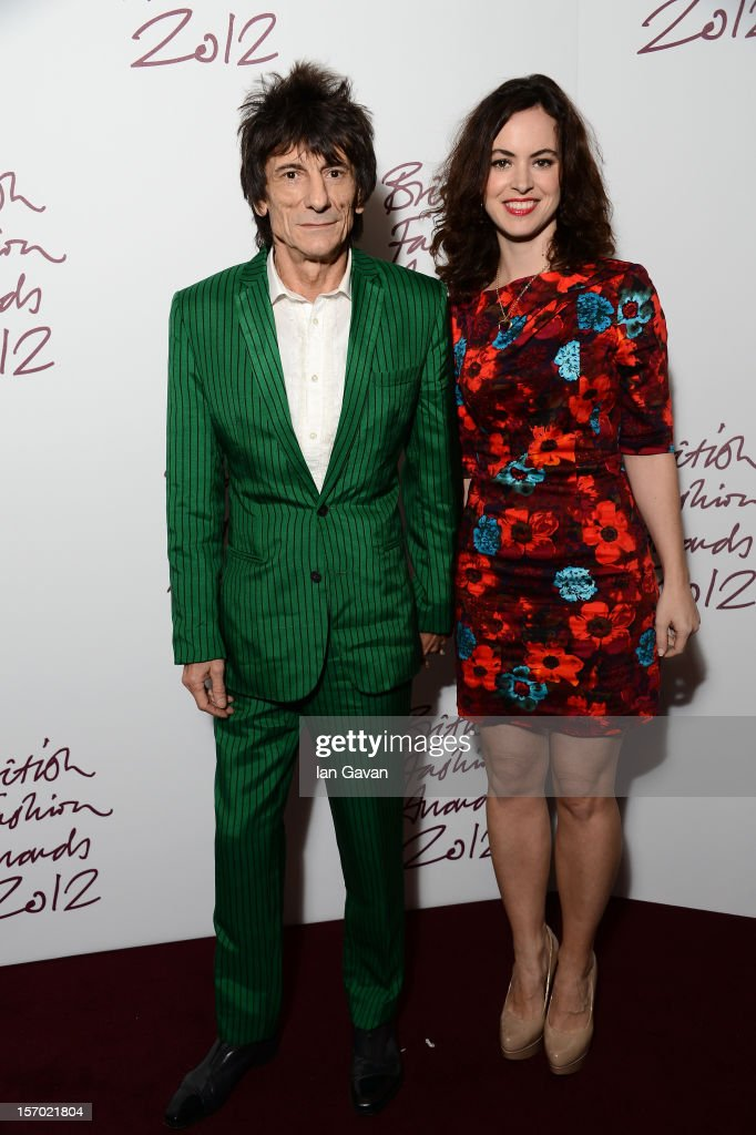 Ronnie Wood and Sally Humphries attend the British Fashion Awards 2012 at The Savoy Hotel on November 27, 2012 in London, England.