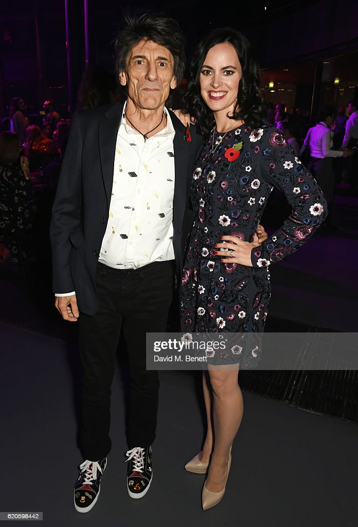 Ronnie Wood (L) and Sally Wood attend a drinks reception at The Stubhub Q Awards 2016 at The Roundhouse on November 2, 2016 in London, England.