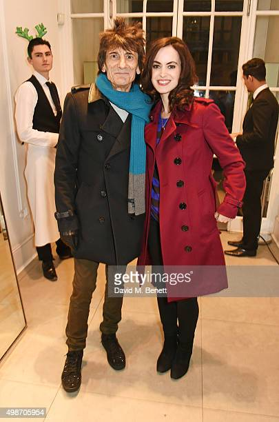 Ronnie Wood and Sally Wood attend the Stella McCartney Christmas Lights switch on at the Stella McCartney Bruton Street Store on November 25 2015 in...