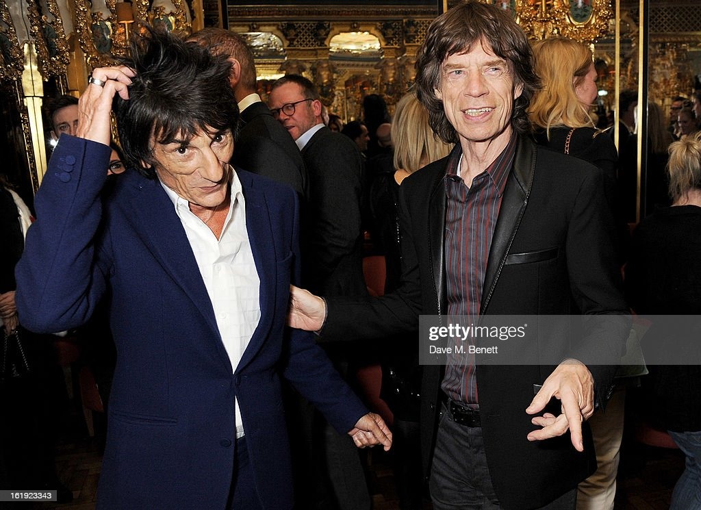 Ronnie Wood (L) and Sir <a gi-track='captionPersonalityLinkClicked' href=/galleries/search?phrase=Mick+Jagger&family=editorial&specificpeople=201786 ng-click='$event.stopPropagation()'>Mick Jagger</a> attend a private dinner hosted by <a gi-track='captionPersonalityLinkClicked' href=/galleries/search?phrase=L%27Wren+Scott+-+Fashion+Designer&family=editorial&specificpeople=566708 ng-click='$event.stopPropagation()'>L'Wren Scott</a> & <a gi-track='captionPersonalityLinkClicked' href=/galleries/search?phrase=Mick+Jagger&family=editorial&specificpeople=201786 ng-click='$event.stopPropagation()'>Mick Jagger</a> celebrating her 2013 fall/winter collection at the Cafe Royal hotel on February 17, 2013 in London, England.