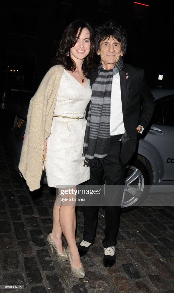 Ronnie Wood and Wife Sally Humphreys sighting on January 7, 2013 in London, England.