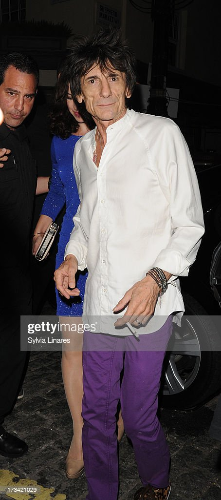 Ronnie Wood arriving at Lulu's Club on July 13, 2013 in London, England.