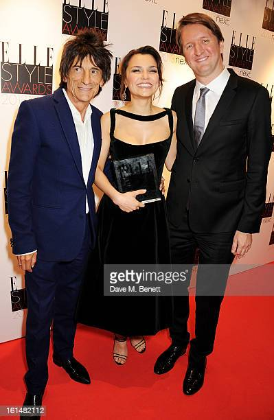 Ronnie Wood Breakthrough Performance wiiner Samantha Barks and Tom Hooper pose in the press room at the Elle Style Awards at The Savoy Hotel on...