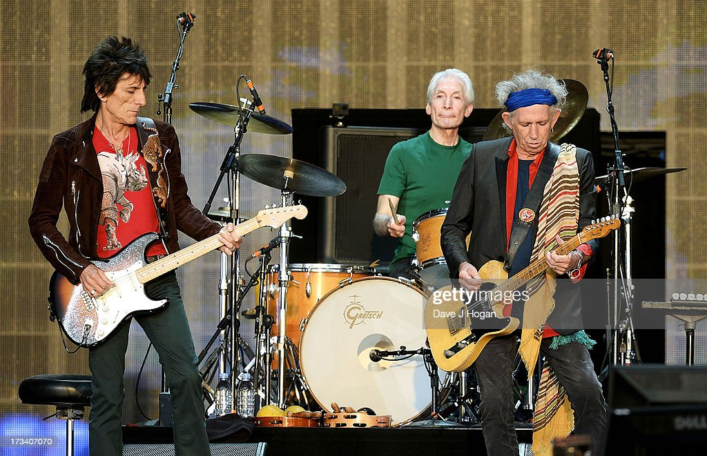 Ronnie Wood, Charlie Watts and Keith Richards of The Rolling Stones perform on stage during a headline performance as part of Barclaycard Present British Summer Time Hyde Park on July 13, 2013 in London, England.