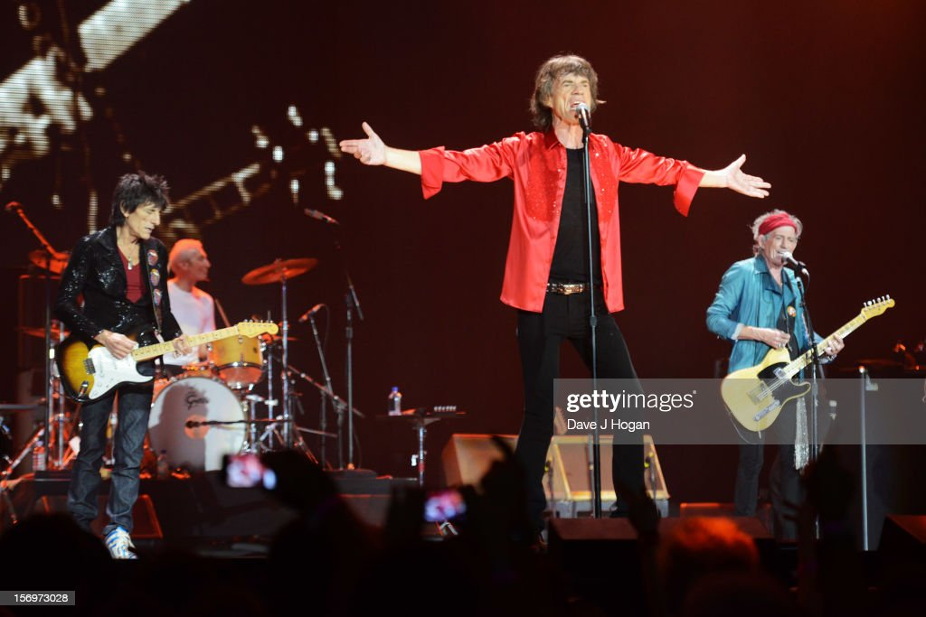 Ronnie Wood, Charlie Watts, Mick Jagger and Keith Richards of the Rolling Stones perform at 02 Arena on November 25, 2012 in London, England.