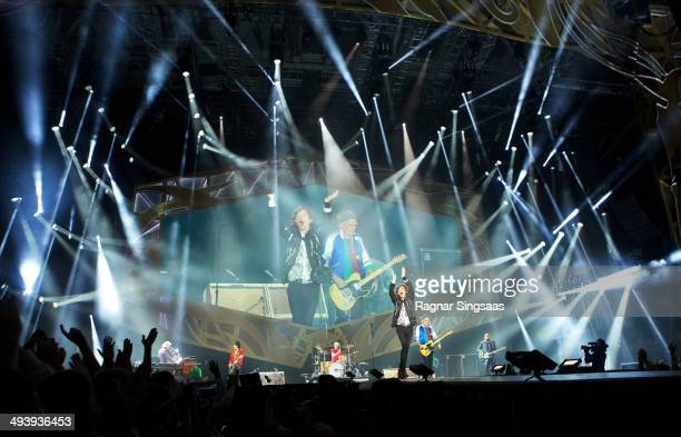 Ronnie Wood Charlie Watts Mick Jagger and Keith Richards of The Rolling Stones perform live on stage on May 26 2014 in Oslo Norway