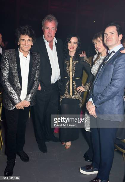Ronnie Wood Jeremy Clarkson Sally Wood Karoline Copping and Jimmy Carr attend the Roundhouse Gala at The Roundhouse on March 16 2017 in London England