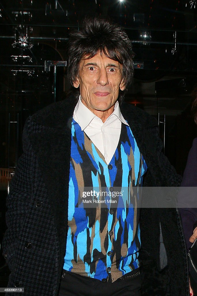 Ronnie Wood leaving Berners Grill restaurant on December 3, 2013 in London, England.