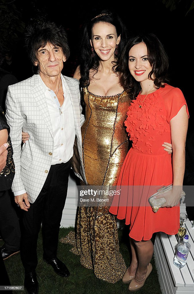 Ronnie Wood, L'Wren Scott and Sally Humphries attend the annual Serpentine Gallery Summer Party co-hosted by L'Wren Scott at The Serpentine Gallery on June 26, 2013 in London, England.