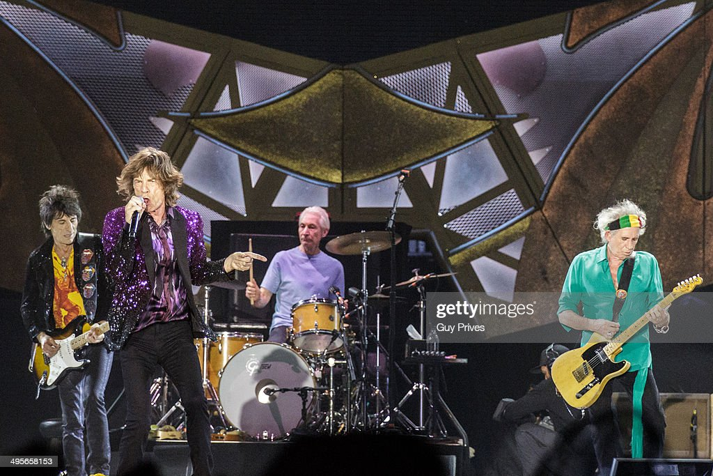 Ronnie Wood, Mick Jagger and Charlie Watts and Keith Richards of The Rolling Stones perform on stage at Park HaYarkon on June 4, 2014 in Tel Aviv, Israel.