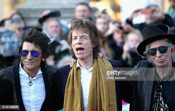 Ronnie Wood Mick Jagger and Keith Richards arrives for the private view of 'The Rolling Stones Exhibitionism' at the Saatchi Gallery on April 4 2016...