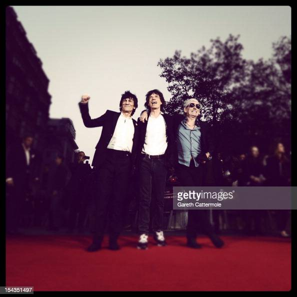 Ronnie Wood Mick Jagger and Keith Richards attend the Premiere of 'Crossfire Hurricane' during the 56th BFI London Film Festival at Odeon Leicester...