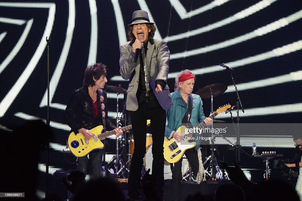 Ronnie Wood, <a gi-track='captionPersonalityLinkClicked' href=/galleries/search?phrase=Mick+Jagger&family=editorial&specificpeople=201786 ng-click='$event.stopPropagation()'>Mick Jagger</a> and <a gi-track='captionPersonalityLinkClicked' href=/galleries/search?phrase=Keith+Richards+-+Musician&family=editorial&specificpeople=202882 ng-click='$event.stopPropagation()'>Keith Richards</a> of the Rolling Stones perform at 02 Arena on November 25, 2012 in London, England.