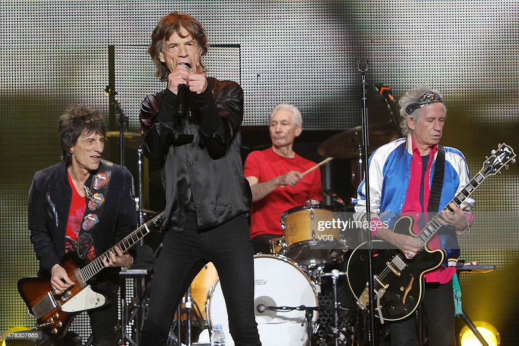 Ronnie Wood, <a gi-track='captionPersonalityLinkClicked' href=/galleries/search?phrase=Mick+Jagger&family=editorial&specificpeople=201786 ng-click='$event.stopPropagation()'>Mick Jagger</a>, <a gi-track='captionPersonalityLinkClicked' href=/galleries/search?phrase=Charlie+Watts&family=editorial&specificpeople=213325 ng-click='$event.stopPropagation()'>Charlie Watts</a> and <a gi-track='captionPersonalityLinkClicked' href=/galleries/search?phrase=Keith+Richards+-+Musician&family=editorial&specificpeople=202882 ng-click='$event.stopPropagation()'>Keith Richards</a> of British band The Rolling Stones perform on the stage in concert at the Mercedes-Benz Arena on March 12, 2014 in Shanghai, China.