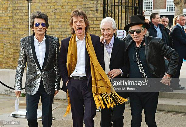 Ronnie Wood Mick Jagger Charlie Watts and Keith Richards of The Rolling Stones attend a private view of 'The Rolling Stones Exhibitionism' at The...