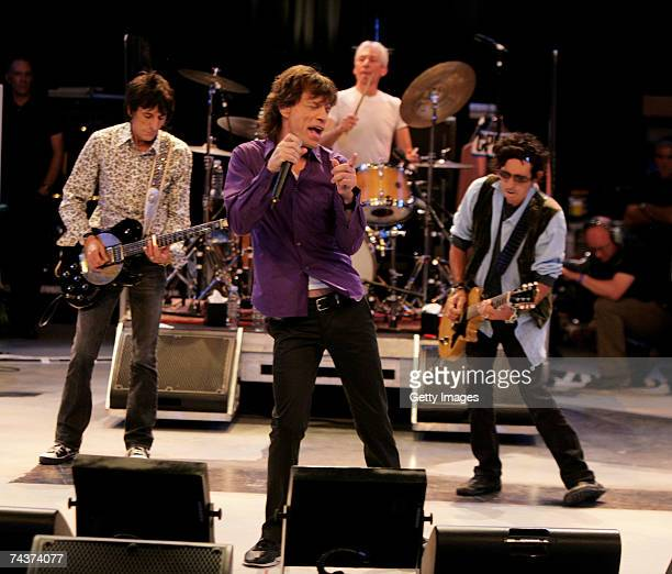 Ronnie Wood Mick Jagger Charlie Watts and Keith Richards of The Rolling Stones perform during a dress rehearsal prior to the opening concert of the...