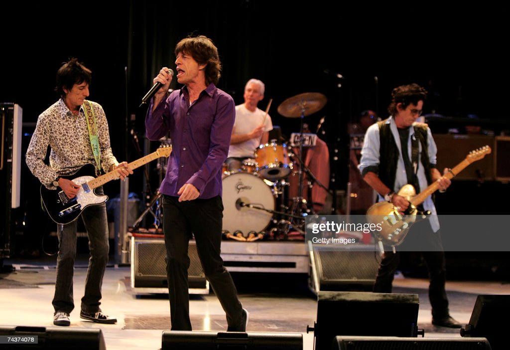 Ronnie Wood, <a gi-track='captionPersonalityLinkClicked' href=/galleries/search?phrase=Mick+Jagger&family=editorial&specificpeople=201786 ng-click='$event.stopPropagation()'>Mick Jagger</a>, Charlie Watts and <a gi-track='captionPersonalityLinkClicked' href=/galleries/search?phrase=Keith+Richards+-+Musician&family=editorial&specificpeople=202882 ng-click='$event.stopPropagation()'>Keith Richards</a> of The Rolling Stones perform during a dress rehearsal prior to the opening concert of the 2007 European leg of their 'A Bigger Bang' World Tour at the Videohouse on June 1, 2007 in Brussels, Belgium. This leg of the Tour begins on June 5 at Werchter Park, Belgium and is due to be completed in August in London, England.