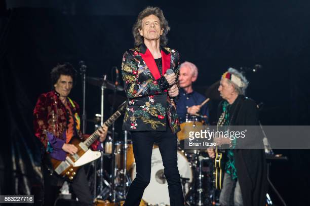 Ronnie Wood Mick Jagger Charlie Watts and Keith Richards of The Rolling Stones perform live on stage at U Arena on October 19 2017 in Nanterre France