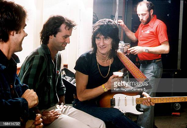 Ronnie Wood of the Rolling Stone is photographed with comedians Dan Aykroyd and Bill Murray during rehearsal October 1978 in New York City CREDIT...