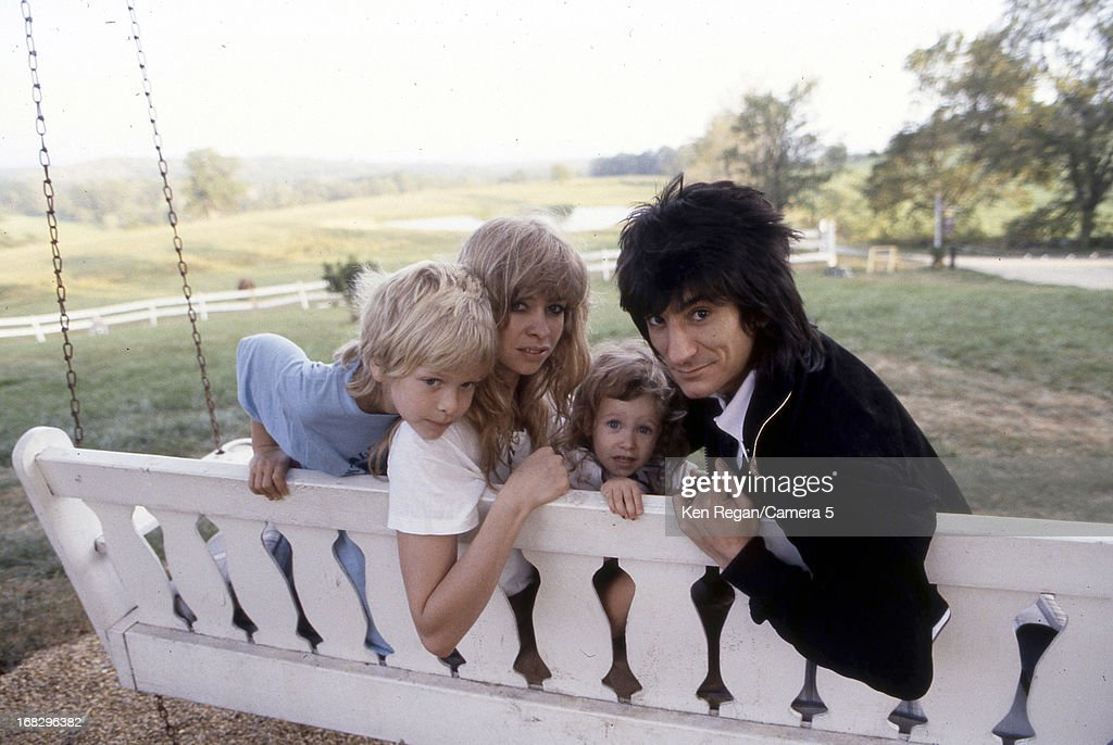 Ronnie Wood of the Rolling Stones, Jo Wood and children Leah and Jamie are photographed in 1983 in Los Angeles, California.