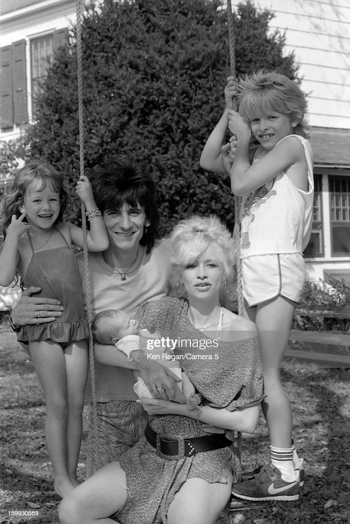 Ronnie Wood of the Rolling Stones, Jo Wood and children Leah, Tyrone and Jamie are photographed in 1983 in Los Angeles, California.