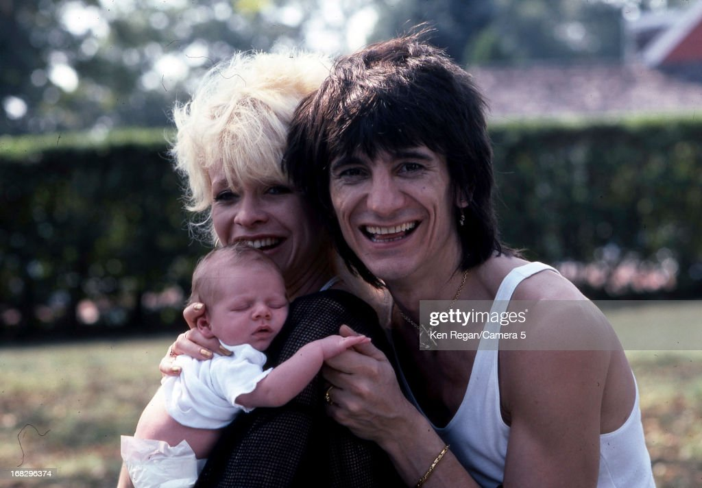 Ronnie Wood of the Rolling Stones, Jo Wood and son Tyrone are photographed in 1983 in Los Angeles, California.
