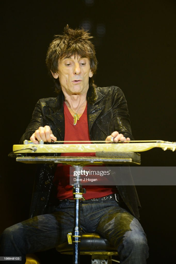 Ronnie Wood of the Rolling Stones performs at 02 Arena on November 25, 2012 in London, England.
