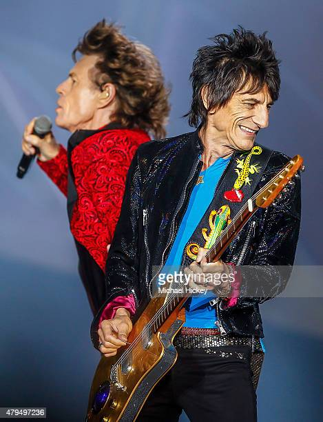Ronnie Wood of the Rolling Stones performs at the Indianapolis Motor Speedway on July 4 2015 in Indianapolis Indiana